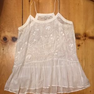 LOFT sheer white embroidered tank XS